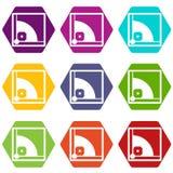 De vastgestelde kleur van het honkbalveldpictogram hexahedron Stock Afbeeldingen