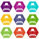 De vastgestelde kleur van het imkerpictogram hexahedron Royalty-vrije Stock Afbeelding