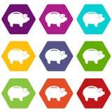 De vastgestelde kleur van het Piggypictogram hexahedron Stock Afbeeldingen