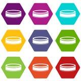 De vastgestelde kleur van het puckpictogram hexahedron Stock Fotografie