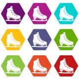 De vastgestelde kleur van het vletenpictogram hexahedron Stock Foto's