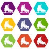 De vastgestelde kleur van het vletenpictogram hexahedron Royalty-vrije Stock Fotografie