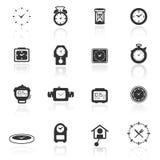 De vastgestelde klokken van het pictogram Stock Foto's