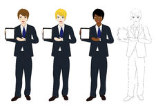 De vastgestelde Knappe Tablet van de Bedrijfsmensenpresentatie Volledig Lichaam Royalty-vrije Stock Afbeelding