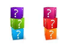 De vastgestelde kubussen van het pictogram met vraagteken Stock Foto