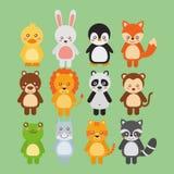 De vastgestelde leuke fauna van het dierenwild royalty-vrije illustratie