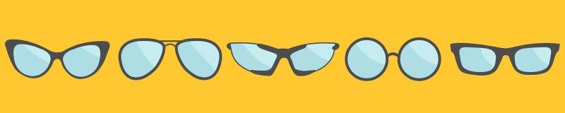 De vastgestelde lijn van het glazenpictogram De inzameling van de oogglazenzonnebril Vlak Ontwerp Gele achtergrond Ge?soleerde royalty-vrije illustratie