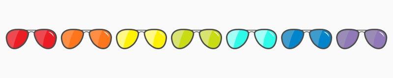 De vastgestelde lijn van het zonnebrilpictogram Glazen met regenbooglenzen die worden geplaatst Manierelement LGBT-teken Vrolijk  stock illustratie