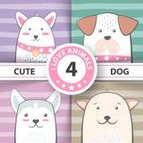 De vastgestelde mooie karakters van het hondbeeldverhaal royalty-vrije illustratie
