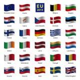 De vastgestelde od Europese Unie vlaggen van het land Royalty-vrije Stock Afbeelding