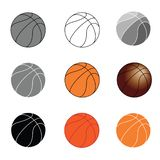 De vastgestelde pictogrammen van basketbalballen vector illustratie