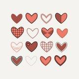 De vastgestelde pictogrammen van contourharten in rood Royalty-vrije Stock Afbeelding