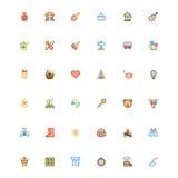 De vastgestelde pictogrammen van de de zomerkleur Stock Foto's
