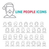 De vastgestelde pictogrammen van de gebruikerslijn Royalty-vrije Stock Afbeeldingen