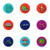 De vastgestelde pictogrammen van de speltuin in vlakke stijl Grote inzameling van het vectorsymbool van de speltuin Royalty-vrije Stock Afbeeldingen