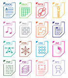 De vastgestelde pictogrammen van het dossierformaat Royalty-vrije Stock Foto