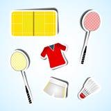 De vastgestelde pictogrammen van het sportbadminton Royalty-vrije Stock Afbeeldingen