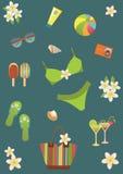 De vastgestelde pictogrammen van het strand. Stock Foto