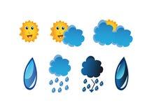 De vastgestelde pictogrammen van het weer Royalty-vrije Stock Afbeelding