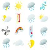 De vastgestelde pictogrammen van het weer vector illustratie