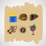 De vastgestelde pictogrammen van kleuren vectorschetsen van voedsel Royalty-vrije Stock Fotografie