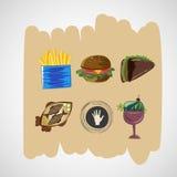 De vastgestelde pictogrammen van kleuren vectorschetsen van voedsel Stock Fotografie