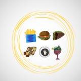 De vastgestelde pictogrammen van kleuren vectorschetsen van voedsel Stock Afbeelding