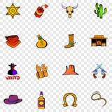 De vastgestelde pictogrammen van Wilde Westennen Royalty-vrije Stock Afbeelding