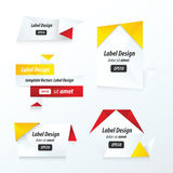 De vastgestelde rode, gele, zwarte kleur van de etiketteninzameling Stock Foto