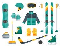 De vastgestelde ski van het wintersportenmateriaal, het krullen, vleten, kleren Royalty-vrije Stock Fotografie