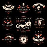 De vastgestelde Uitstekende Gelukkige Kentekens en de Etiketten van Halloween royalty-vrije illustratie
