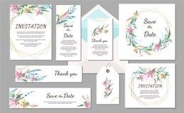De vastgestelde uitstekende kaart van de Huwelijksuitnodiging met roze lelie en geometrische kaders Hand getrokken bloemen royalty-vrije stock foto