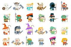 De vastgestelde van de heldenschurken van het fantasie rpg spel van het minionskarakter van het de pictogrammen vlakke ontwerp ve royalty-vrije illustratie