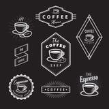 De vastgestelde van het de emblemenbord van koffieetiketten uitstekende retro vector Stock Fotografie