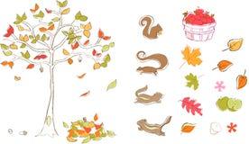 De vastgestelde Vector van de herfst Royalty-vrije Stock Afbeeldingen