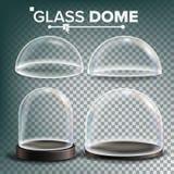 De Vastgestelde Vector van de glaskoepel Reclame, het Glaselement van het Presentatieontwerp Verschillende types Leeg Glas Crysta royalty-vrije illustratie
