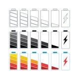 De Vastgestelde Vector van het batterijpictogram royalty-vrije stock foto