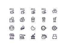 De vastgestelde vector van het koffiepictogram Lijnpictogrammen Stock Foto's