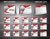 De vastgestelde vector van het het malplaatjeontwerp van de Bureaukalender 2019 en 3d model van de bureaukalender, dekkingsontwer Royalty-vrije Illustratie