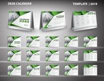De vastgestelde vector van het het malplaatjeontwerp van de Bureaukalender 2019 en 3d model van de bureaukalender, dekkingsontwer Vector Illustratie