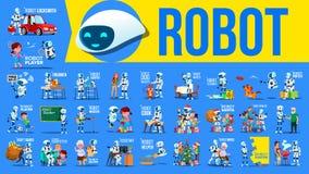 De Vastgestelde Vector van de robothelper Toekomstige Levensstijlsituaties Werken, die samen communiceren Cyborg, AI Futuristisch royalty-vrije illustratie
