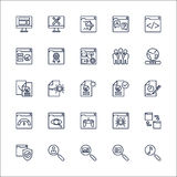 De vastgestelde vector van SEO Outline Icons stock illustratie