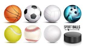 De Vastgestelde Vector van de sportbal 3D Realistisch Populaire die Sportenballen op Witte Illustratie worden geïsoleerd Als acht Royalty-vrije Stock Foto's