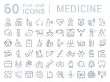 De vastgestelde Vector Vlakke Geneeskunde van Lijnpictogrammen Stock Foto