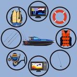 De vastgestelde vector vlakke illustratie van het visserijpictogram stock illustratie