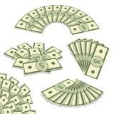 De vastgestelde vectorillustratie van de bankbiljettenventilator Getrokken in perspectiefsi Royalty-vrije Stock Fotografie