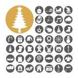 De vastgestelde vectorillustratie van het Kerstmispictogram stock foto's