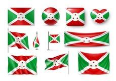 De vastgestelde vlaggen van Burundi, banners, banners, symbolen, realistisch pictogram Royalty-vrije Stock Foto