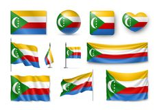 De vastgestelde vlaggen van de Comoren, banners, banners, symbolen, realistisch pictogram Stock Afbeeldingen