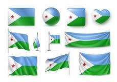 De vastgestelde vlaggen van Djibouti, banners, banners, symbolen, realistisch pictogram Royalty-vrije Stock Foto's